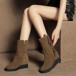 厚底短靴女春秋2018新款马丁靴子平底内增高冬季雪地靴流苏中筒靴