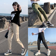 Ins beam foot overalls women French loose casual thin national tide spring and autumn Korean students bf handsome straight pants