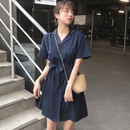 连衣裙女夏季新款韩版女装单排扣翻领宽松短袖衬衫裙系带收腰短裙
