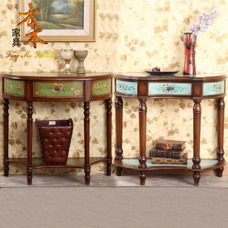 欧美现代中式欧式田园边台几桌梳妆台玄关桌彩绘半圆桌台卧室包邮