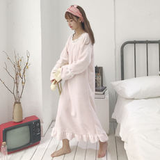 Autumn Korean version of the cute plush velvet thick ruffled long-sleeved pajamas dress student nightdress home service ladies