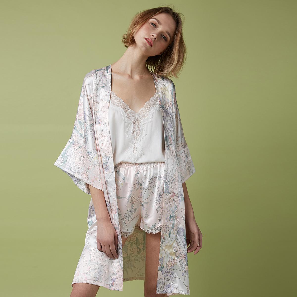 PJM春夏新款睡袍女性感宽松大码花卉印花中袖舒适睡衣家居服浴袍