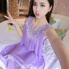 Summer new ice silk nightdress large size loose version of the dress skirt sexy pajamas Europe and the summer dress ladies home service tide