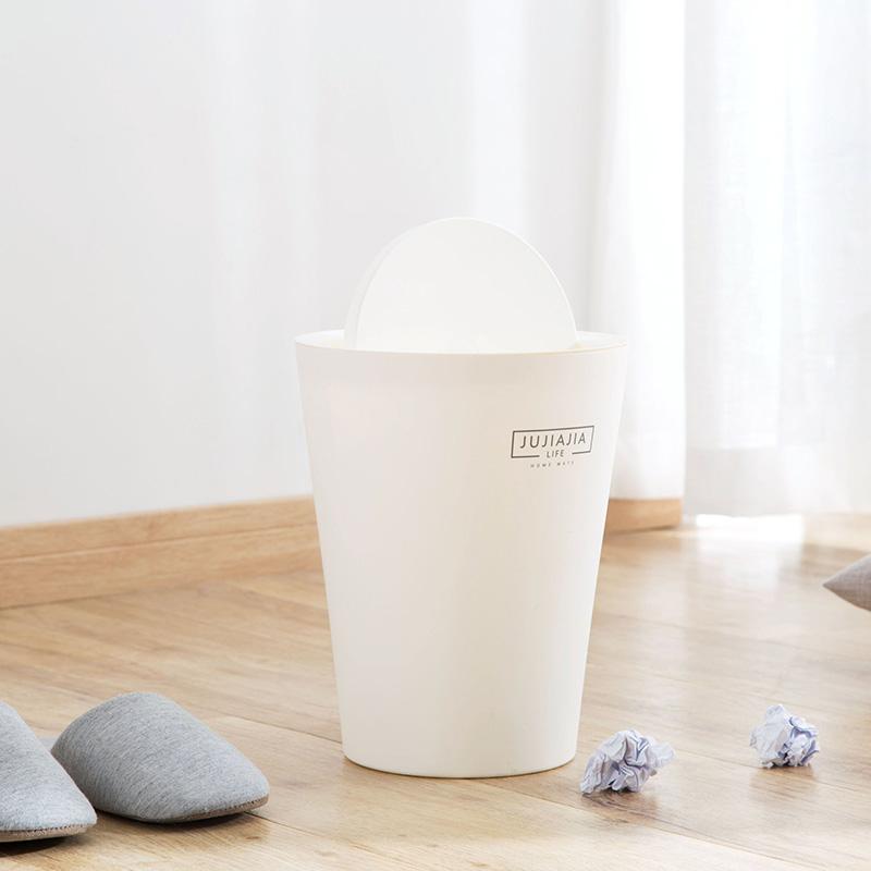 日式带盖摇盖垃圾桶家用大号压圈垃圾筒客厅卧室垃圾篓厨房卫生间