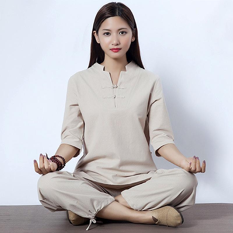 春夏棉麻瑜伽服套装高档亚麻女打坐练功服禅修衣服中袖居士服茶服