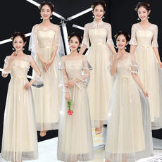 Grey bridesmaid dress 2019 new long sisters girlfriends group graduation evening dress female long section was thin skirt spring