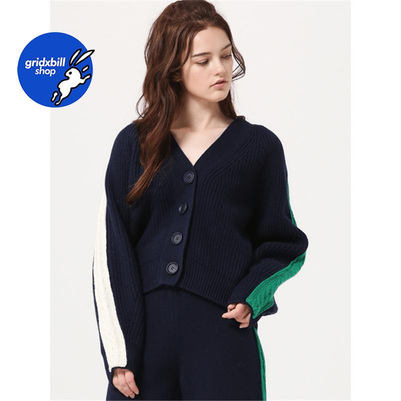 折扣 SJYP BLACK 18秋冬 撞色麻花條紋V領短款排扣羊毛針織衫毛衣
