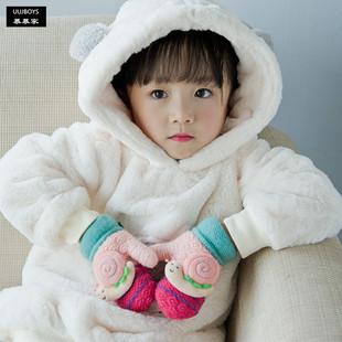 宝宝手套冬季男童女童针织加厚儿童冬天保暖可爱手套1-2-3岁小童