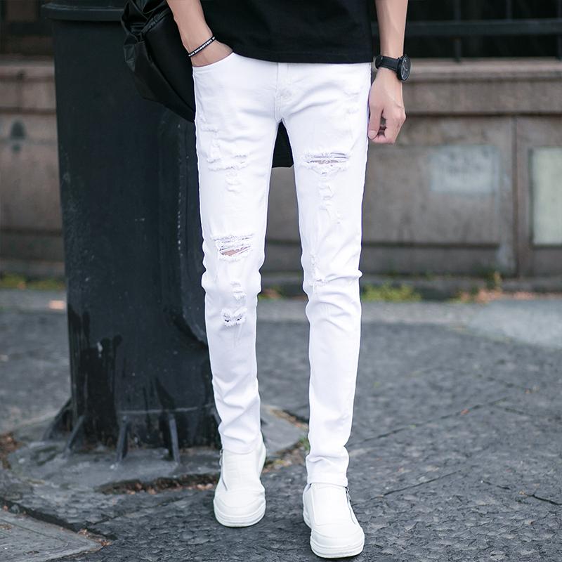 薄夏季青年白色破洞牛仔裤男弹力修身小脚裤男发型师韩版乞丐潮流