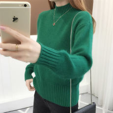Sweater women's autumn and winter short fashion plus velvet loose hooded solid color half-high collar thread knitting wild bottoming shirt thick