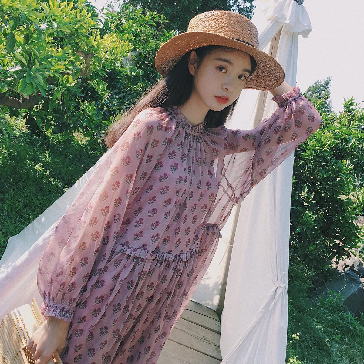 范智乔 长裙女夏2017新款文艺森女系复古小碎花