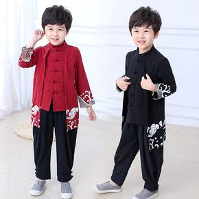 儿童春秋棉麻汉服中国风复古童装长款盘扣民族风服装唐装男童套装