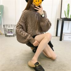 High collar sweater women thick thick sweater 2017 autumn and winter wear new Korean students loose twist sweater jacket