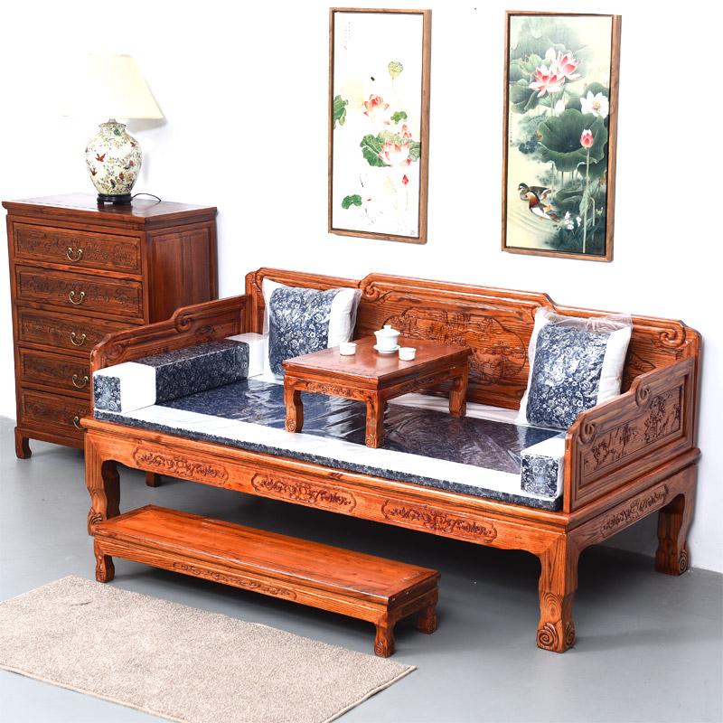 现代中式实木罗汉床明清沙发床榻榆木罗汉床仿古山水雕花罗汉床