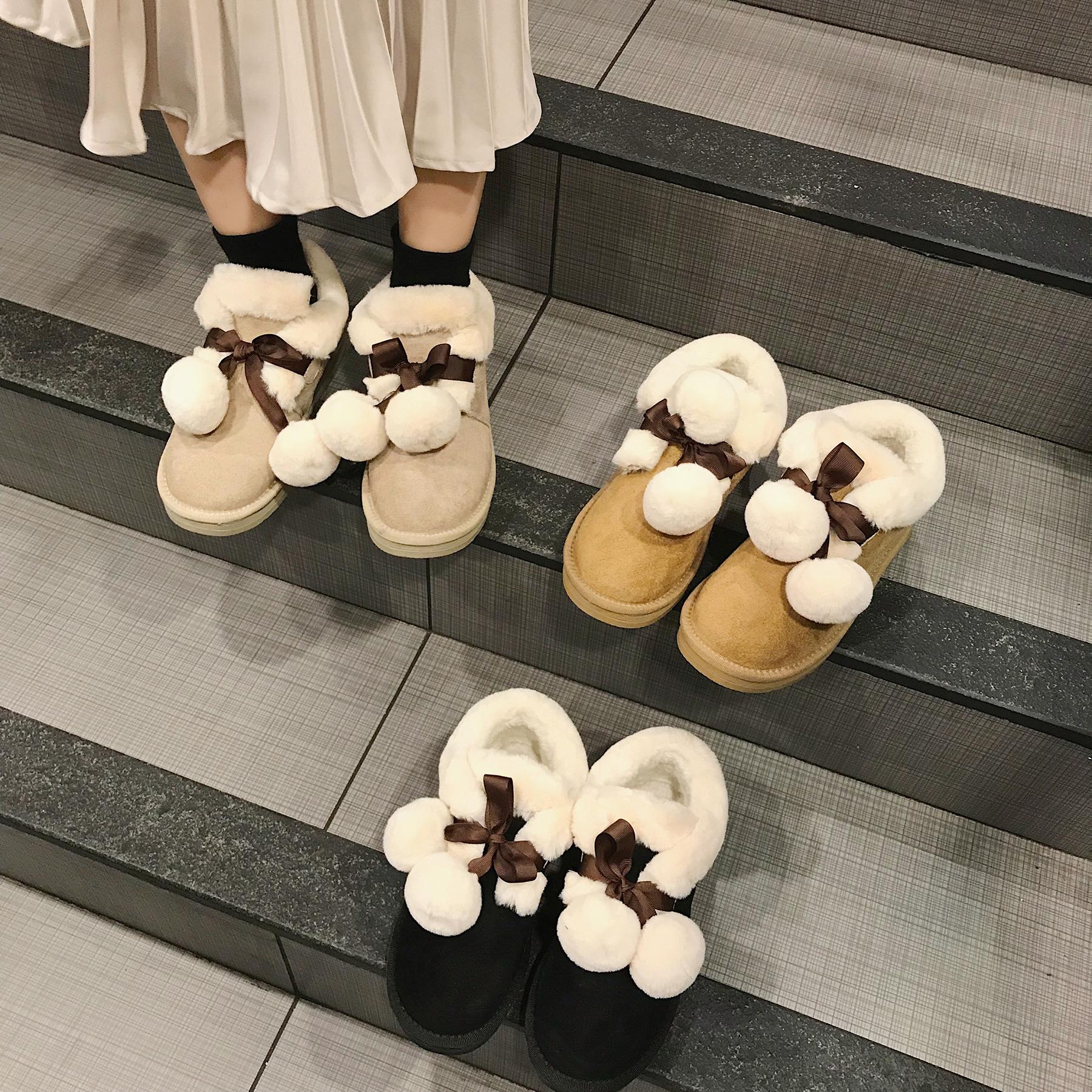 雪地靴2018新款冬季加厚保暖毛球短筒平底可爱软妹学生百搭女