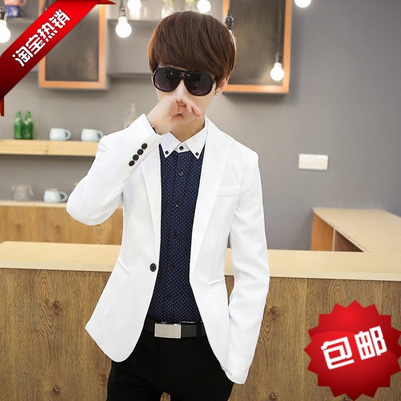 青少年男装新款韩版修身 褂子 时尚一粒扣小西装休闲西服男士外套