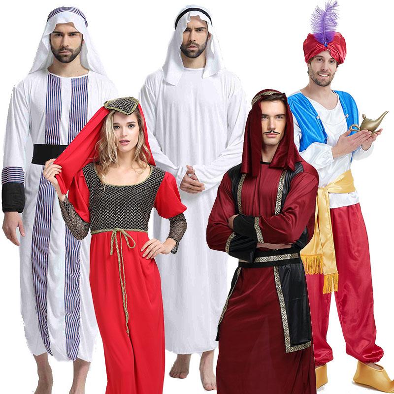 万圣节万圣节舞会**服装男白色阿拉伯酋长穆斯林表演长袍罗马