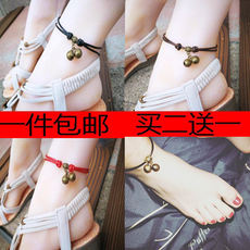 Korean version of the simple anklet female male red black rope has a sound bell evil spirits tiger bell anti-small student bracelet retro