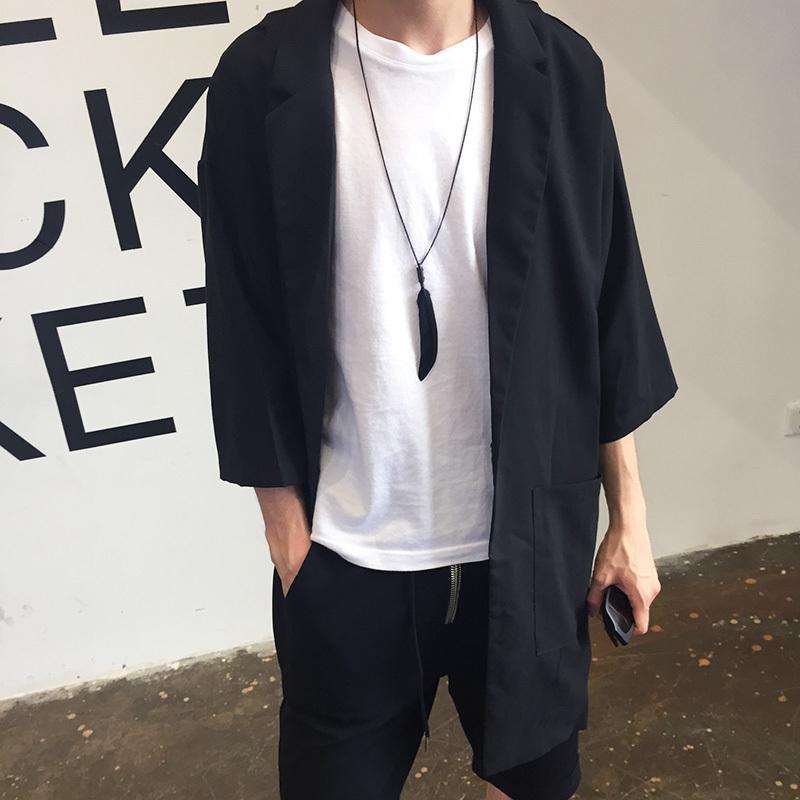 潮牌夏季超薄款韩版中长款风衣男士日系宽松帅气五分中袖披风外套