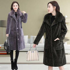 2018 winter new Haining big fox fur collar wool fur coat was thin sheep sheared coat female long section