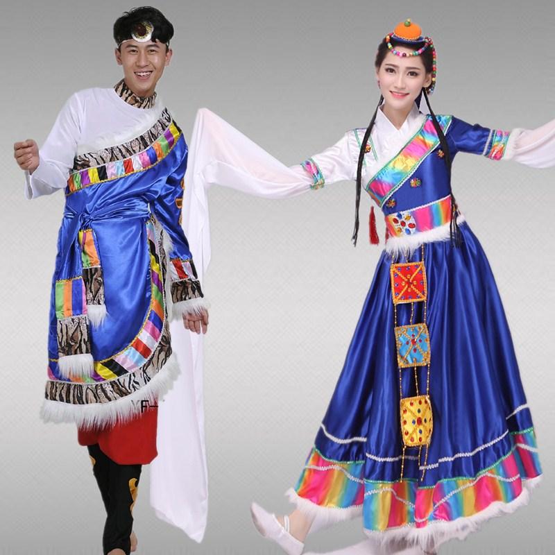 2018新款藏族舞蹈演出服男女成人藏族水袖演出服装蒙古民族表演服