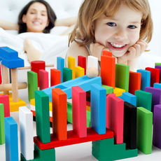 Adult children students creative institutions color dominoes competition teamwork parent-child interactive toys
