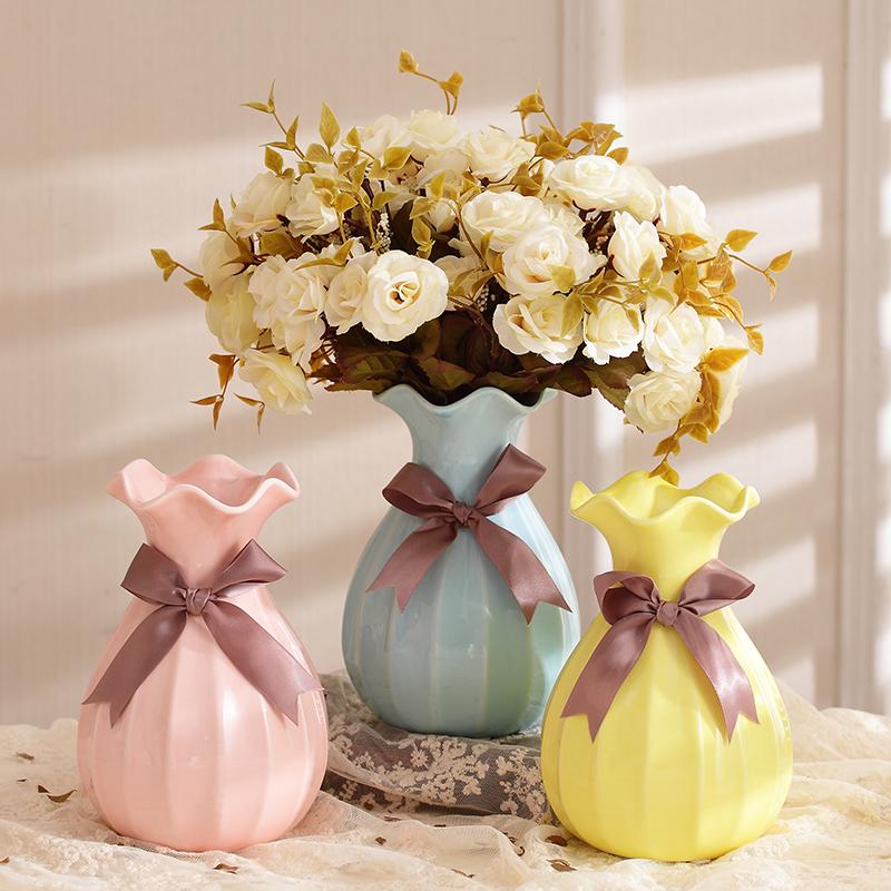现代陶瓷小花瓶餐桌花插客厅玄关电视柜台面摆件欧式艺术插花瓷器图片