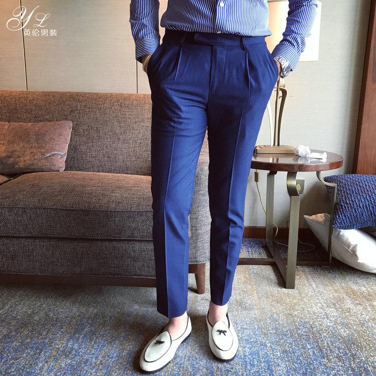 韩国韩版男装修身休闲长裤英伦商务西装裤时尚潮男裤深蓝免烫西裤