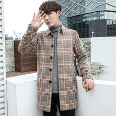 Autumn men's wool coat men's long plaid trench coat Korean version of the trend of Nizi jacket men's slim winter clothing