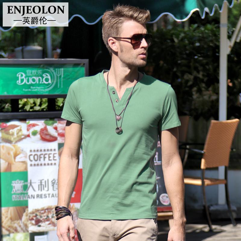 夏季男士短袖T恤 纯色V领男款 夏天修身男装 夏装青春男款上衣潮