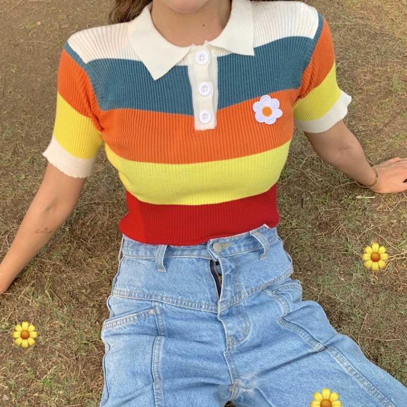 2019新款女装百搭上衣复古可爱彩虹色彩条纹撞色针织短袖t恤潮流