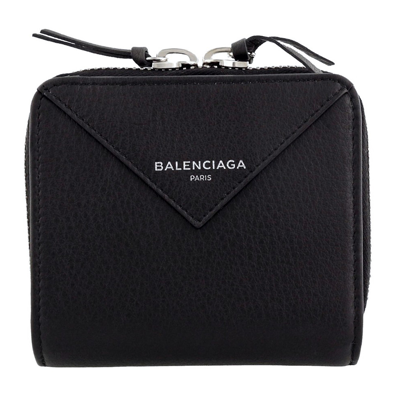 Balenciaga/巴黎世家黑色牛皮对折拉链短款钱包女 371662 DLQ0N