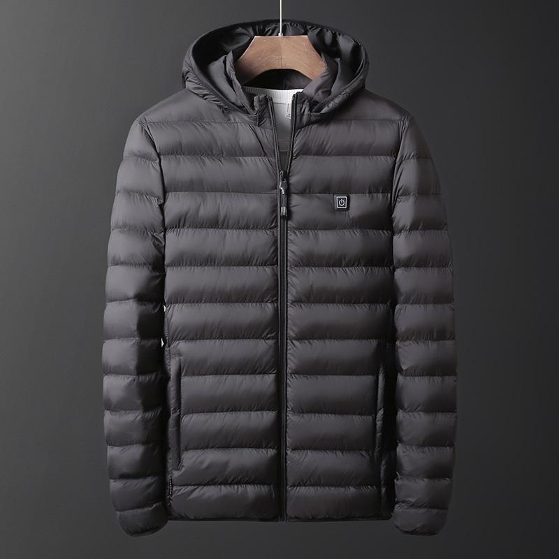 智能加热发热男士冬季棉衣服羽绒棉服电热自动充电轻薄款冬装棉袄