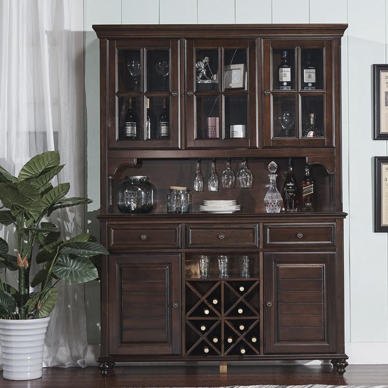全实木三门酒柜美式乡村玻璃装饰柜欧式餐厅家具储物收纳柜子酒架图片