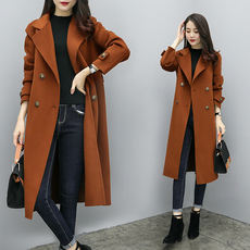 Caramel color woolen coat female long section Korean version 2018 new winter thickening thin long sleeve over the knee coat