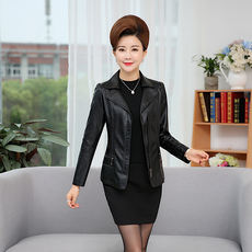 Every day special offer middle-aged women's leather jacket short paragraph pu leather jacket aged middle-aged women wear mother loaded autumn