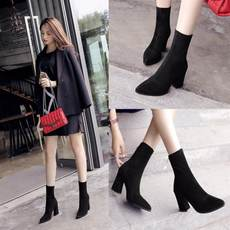 2018 new boots autumn and winter thick with elastic boots women's boots high-heeled pointed boots in the British wind plus velvet Martin boots