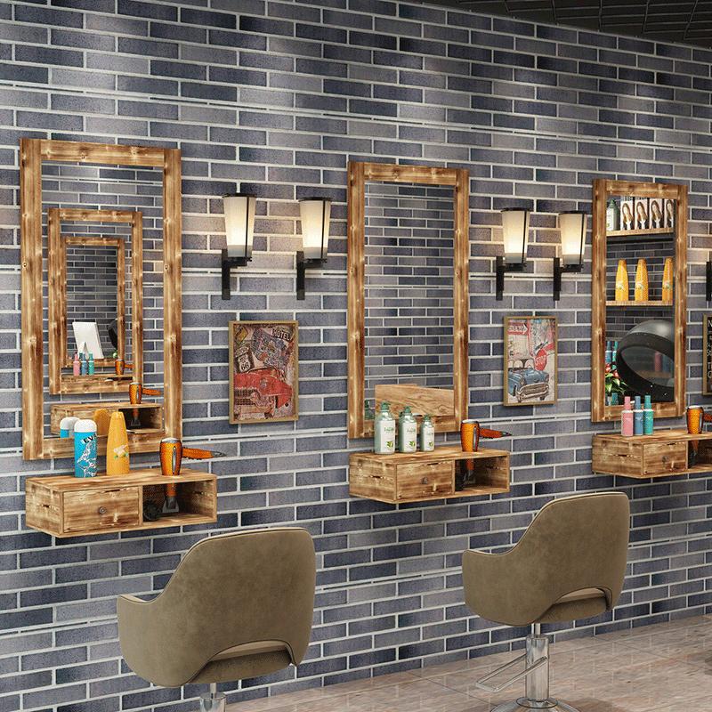 理发店镜台复古壁挂式美发镜发廊专用单面镜子现代简约实木全身镜