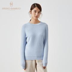 【年度钜惠】春竹羊绒衫女圆领套头打底针织衫薄款纯山羊绒毛衣女