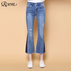 Roem Luo Hao winter new Korean pants female fashion loose straight jeans pants trousers RCTJ81102Q