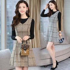 2018 winter sleeveless vest dress V-neck female wild self-cultivation slimming woolen vest skirt large size bottom skirt