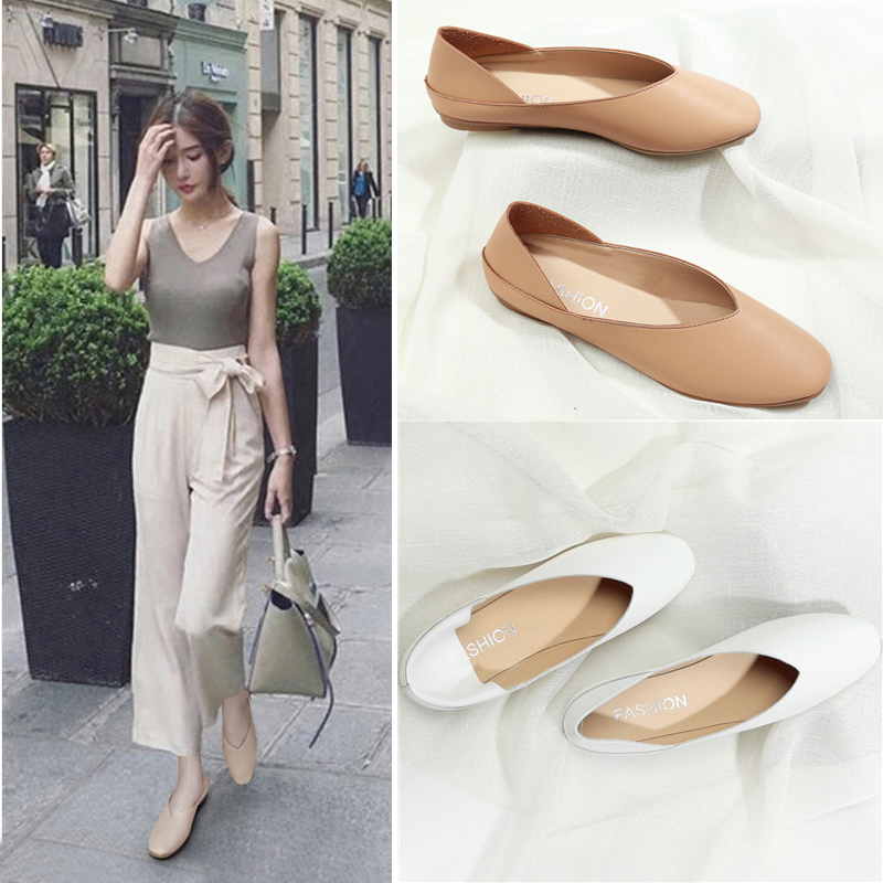 2018春森女平底方头单鞋两穿浅口孕妇奶奶鞋复古半拖仙女懒人鞋子