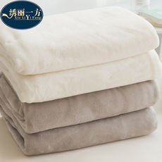 Winter coral fleece blanket thick solid color warm flannel sheets single student dormitory small nap blanket