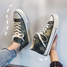 High-top canvas shoes men's camouflage port wind shoes Korean version of the tide shoes Harajuku students wild ulzzang casual shoes