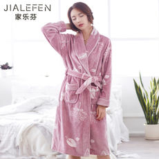 Nightgown ladies winter flannel warm plus velvet pajamas bathrobe bathrobe autumn and winter coral fleece thickening and long section
