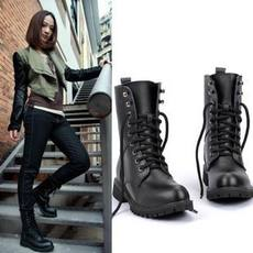 2019 new women's boots short boots leather boots Martin boots flat boots men and women boots student shoes lovers military boots