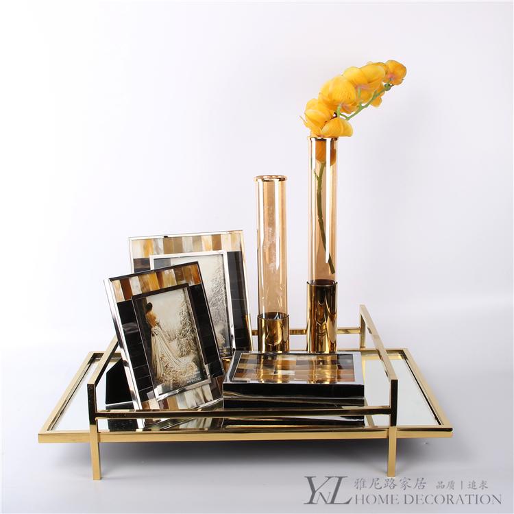 简约欧式金属镜面托盘样板间创意时尚古铜色四方奢华托盘套装摆件