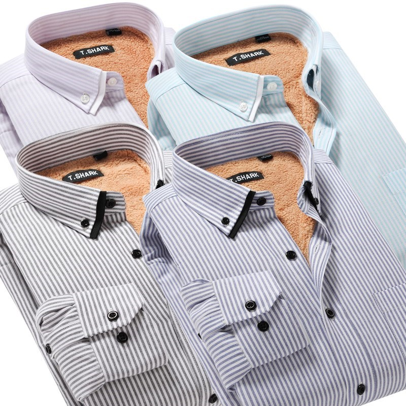 男装冬季保暖衬衫商务休闲条纹加绒加厚长袖羊羔绒双领牛津纺衬衣