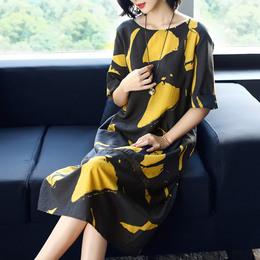 印花大码真丝连衣裙2018春夏女装新款欧美大牌高端宽松桑蚕丝长裙
