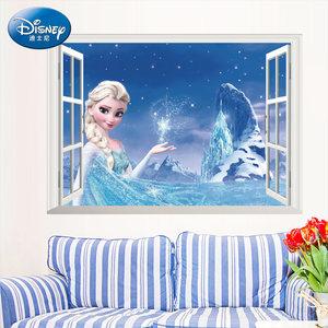 迪士尼正品冰雪奇缘3D效果假窗户客厅卧室墙面装饰贴环保防水墙贴